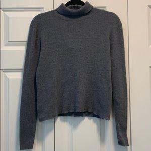 Virgin Wool Grey Pendleton Turtleneck